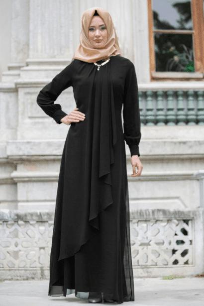 Siyah Katlı Tesettür Elbise Modelleri 2020