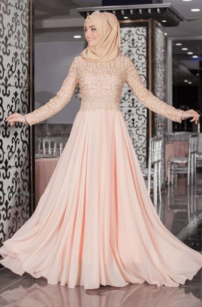 Tüllü Pudra Pembesi Abiye Elbise Modelleri 2020