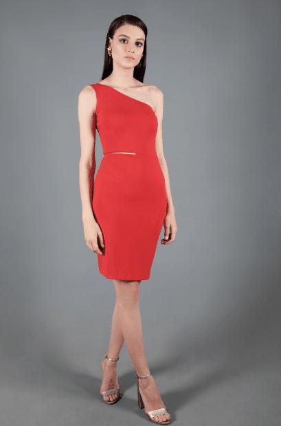 Tek Omuz Kısa Kırmızı Abiye Modelleri 2020