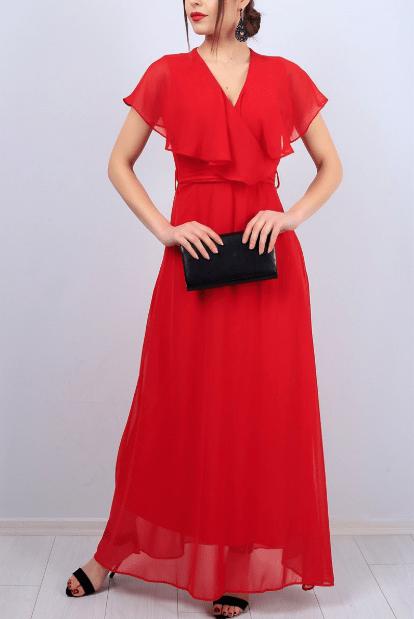 Uzun Şifon Kırmızı Abiye Elbise Modelleri