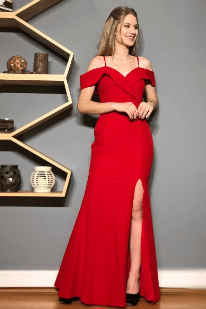 Yırtmaçlı Kırmızı Abiye Elbise Modelleri 2020